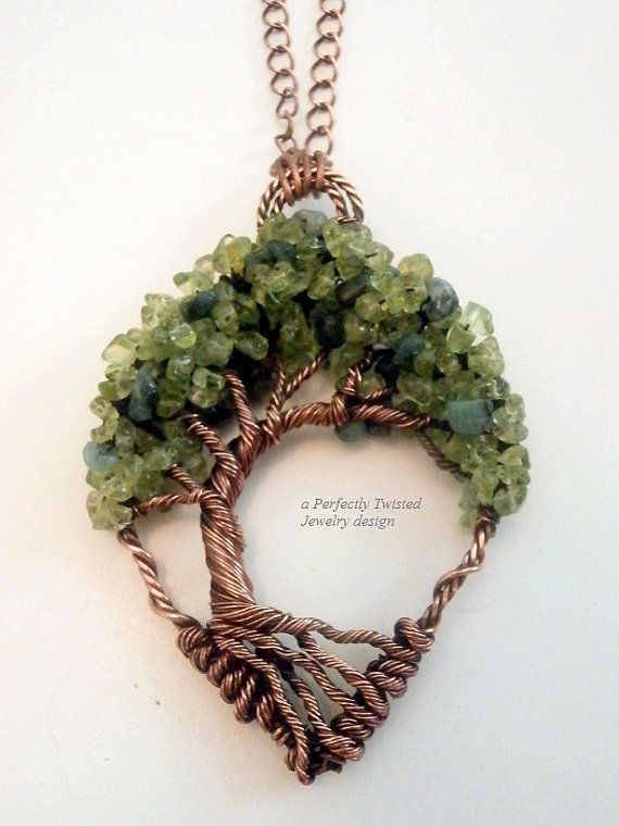 Wire Wrapped Tree of Life Bonsai Pendant, Peridot & Emeralds, Handmade Jewelry, Antiqued Copper, Wire Tree Jewelry, August, May Birthstone