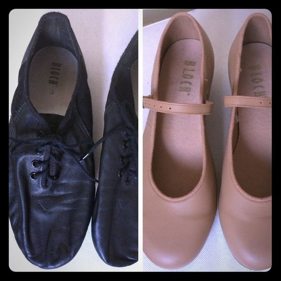 Dance Shoe Bundle!! Tap and Jazz shoes 7 and 7.5 2 pairs of shoes in this bundle! One tap nude flat shoe size 7.5 and one black jazz shoe size 7. Both fit me and I'm a size 7 in normal shoes. All are listed individually as well so check those listings for more details! 😉 Bloch Shoes Flats & Loafers