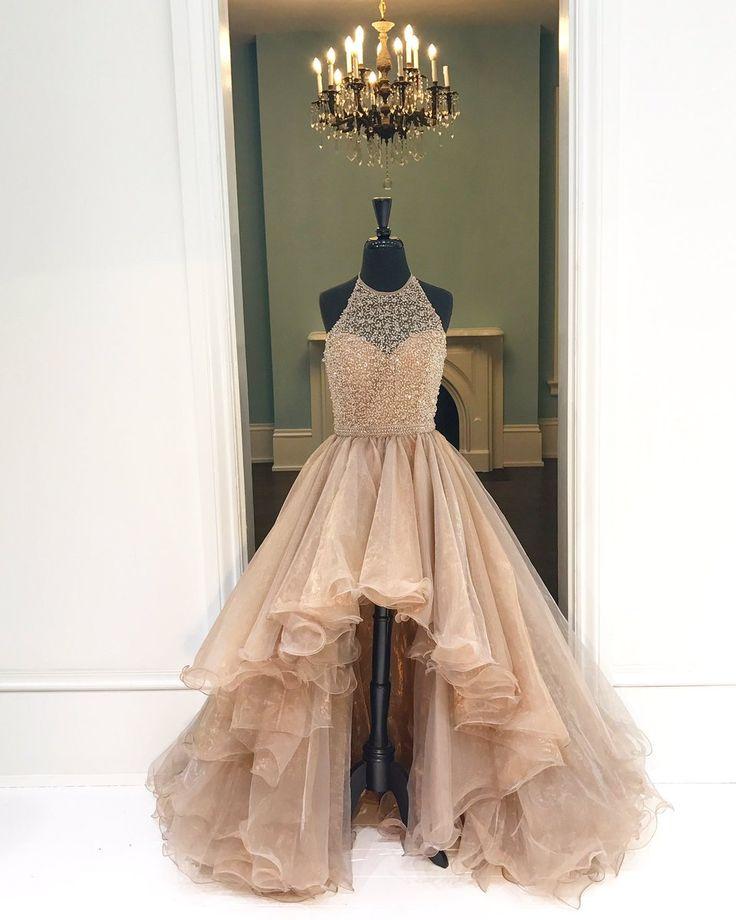 Halter High-Low Beading Prom Dress,Long Prom Dresses,Charming Prom Dresses,Evening Dress Prom Gowns, Formal Women Dress,prom dress,X08