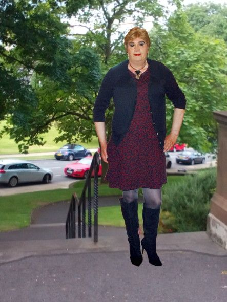 Marks & Spencer fit and flair dress , from the lable on  this dress was made after 2000, it is short sleeved in a Burgundy Red with small black swirls all over.  It is a great dress which will by it's cut  hide all your lumps and bumps which you so not want ant one to see.  Worn here with a black cardigan, knee length boots and Wolford 40 denier tights in anthracite.
