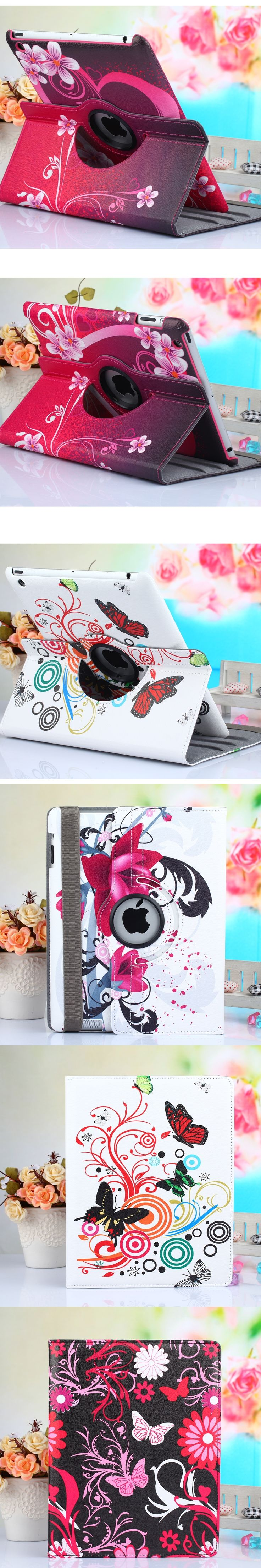 360 Rotation Print Tablet Case For iPad 6 Air 2 For iPad 5 Air 1 Auto Sleep Cover For iPad 234 Protective Shell For iPad 4 3 2