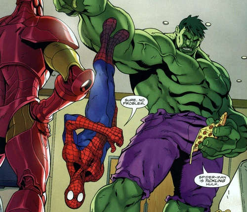 spider man sticking to the hulk hulks about to eat 2 pieces of pizza at the same time