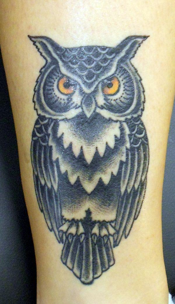 traditional owl Tattoo | ... tattoos tagged oldtimetattoo owl tattoos traditional owl geometry by