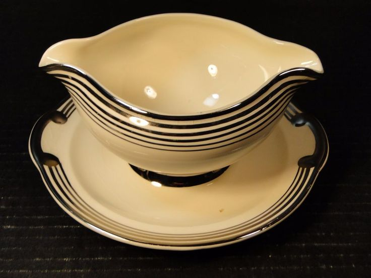 Taylor Smith Taylor Platinum 5 Bands Rings Gravy Boat UnderPlate 601 Crazing  #TaylorSmithTaylor