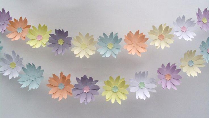 2 flower banners great for Easter (7EUR+P&P) shop: http://en.dawanda.com/shop/handmadepaperheaven Each banner is 1m long.  Colors of flowers: pale colors.  Paper card used for flowers: 160 gsm paper card. blog: http://lucrurifrumoase.blogspot.com/p/my-sh.html
