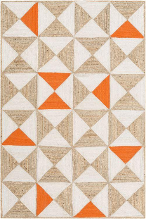 molino bright orange jute area rug - Colorful Area Rugs