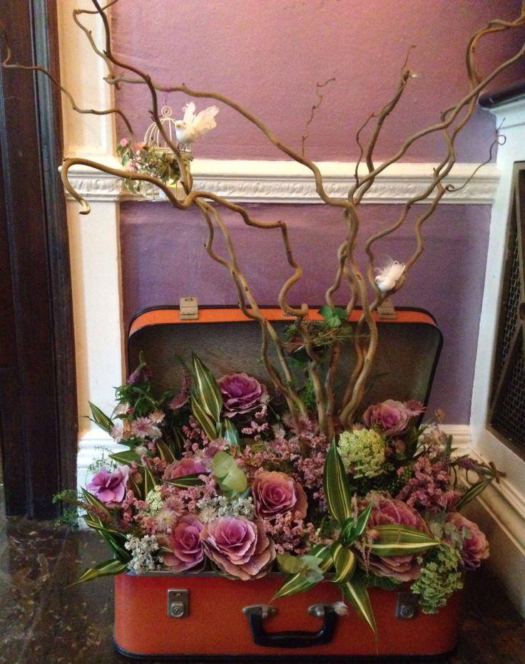 Flower Arrangement In Vintage Suitcase Flower