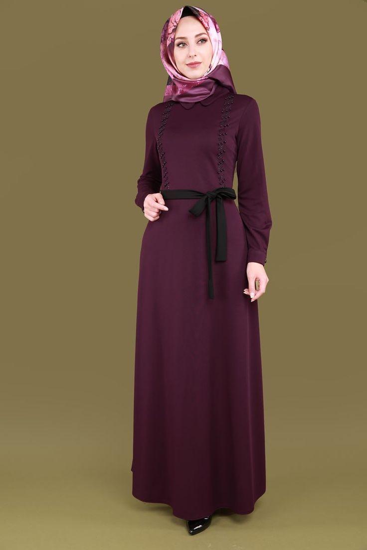 ** YENİ ÜRÜN ** Taşları Yatay Desen Elbise Mürdüm Ürün kodu: MSW8178 --> 69.90 TL