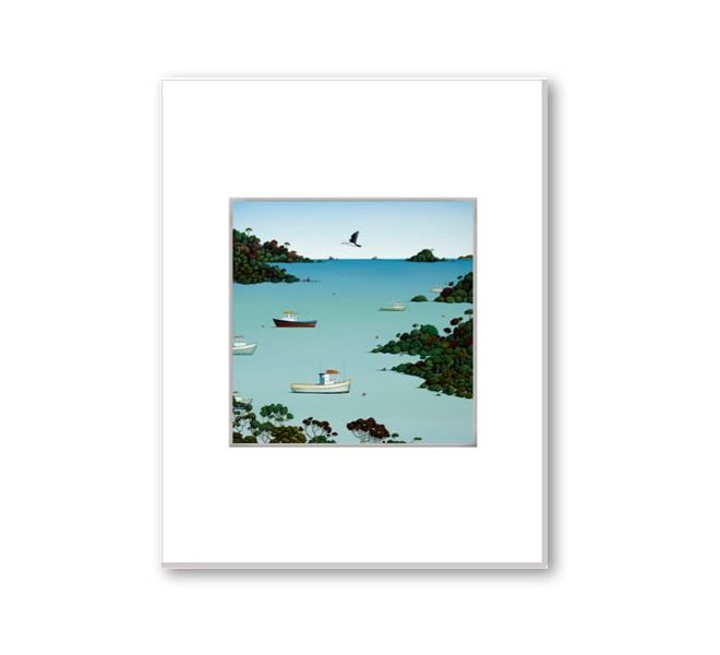 Matted print 47 Degrees South by New Zealand artist Hamish Allan. | Gifts online, flying fish design nz