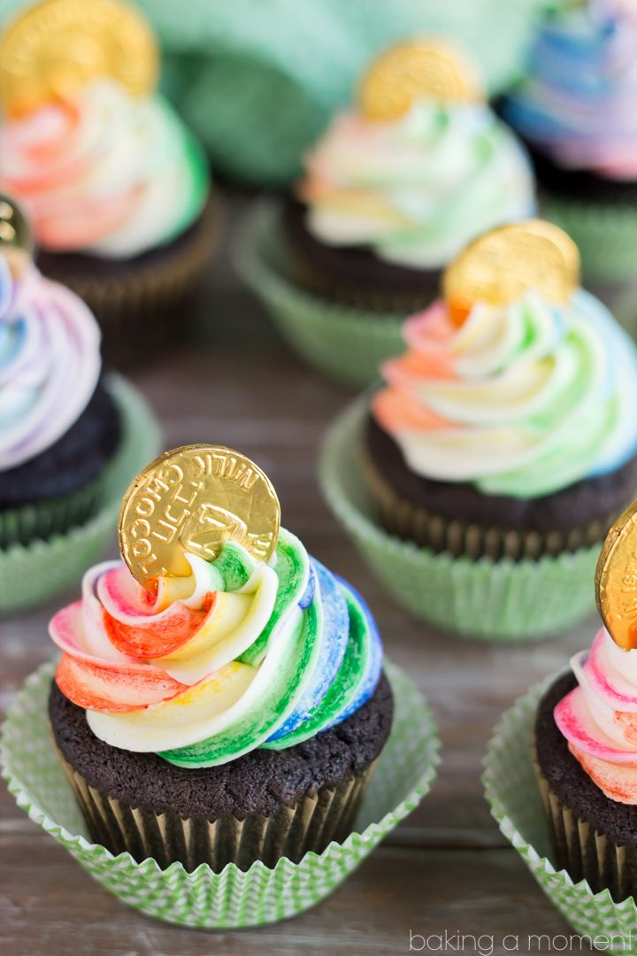 Rainbow Pot of Gold Cupcakes for St. Patrick's Day