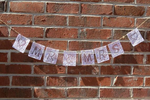 Banner, Personalized Banner, Wedding Banner, Nursery Decoration. Beautiful free standing lace letters, numbers and symbols to add a touch of elegance to any special occasion or brighten up any wall in your house. Each tile is 3-1/4 across by 3-3/4 tall and look great hanging