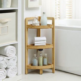 Are Going To 3 Tier Corner 9 05 W X 24 4 H Shelving By Rebrilliant Bathroom Shelves Shelves Small Bathroom Storage
