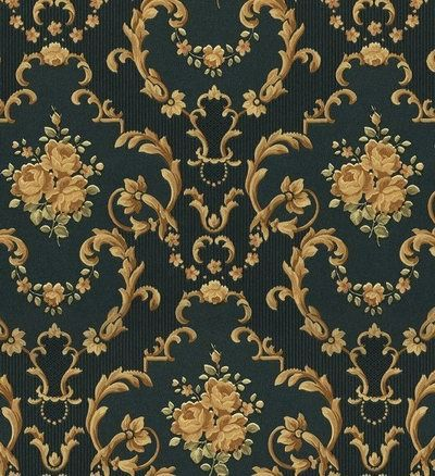 Green And Gold Victorian Pattern Wall To Wall Wallpaper
