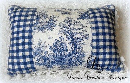 cuscino con tela di joussy e quadrettato per la camera da letto French Country Style