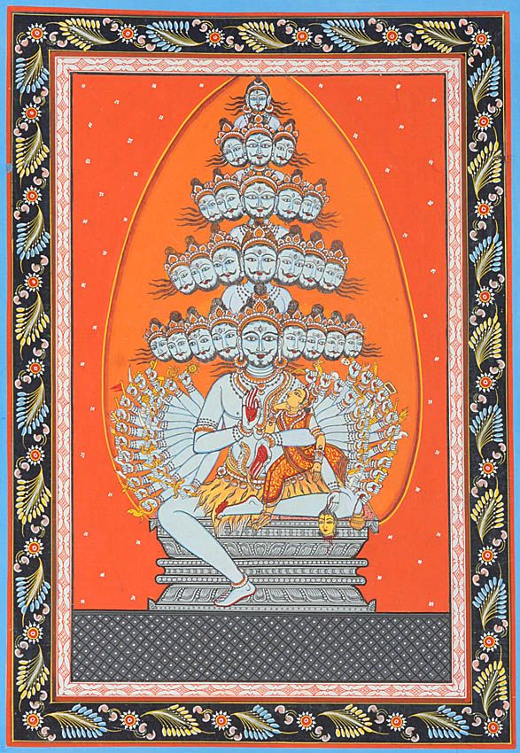 Linga as Jyoti: Cumulative Form of Shiva's Twenty-five Lilas (Illustration to the Shiva Purana) (by Rabi Behera)