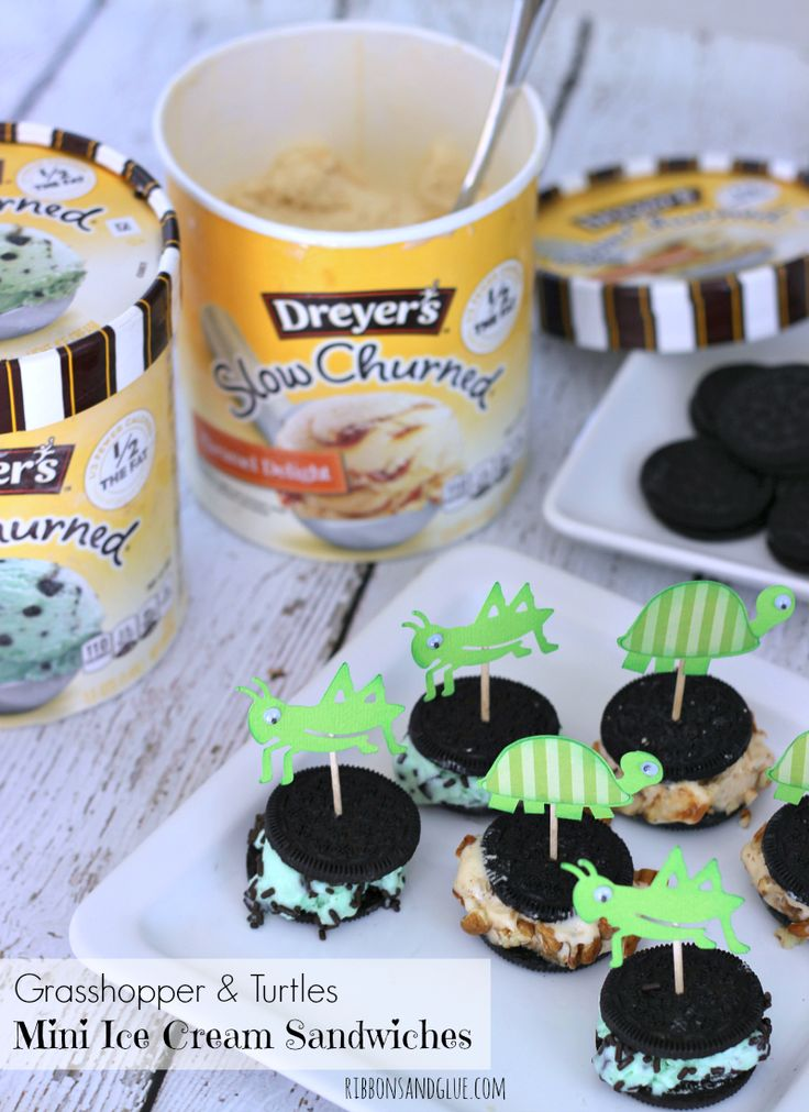 Grasshopper Turtles Mini Ice Cream Sandwiches made with Dryer's Ice Cream decorated with a cute Grasshopper and Turtle die cuts on toothpicks.