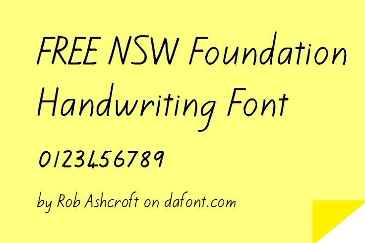 Finally, a FREE NSW Foundation Handwriting Font.  by Rob Ashcroft on dafont.com