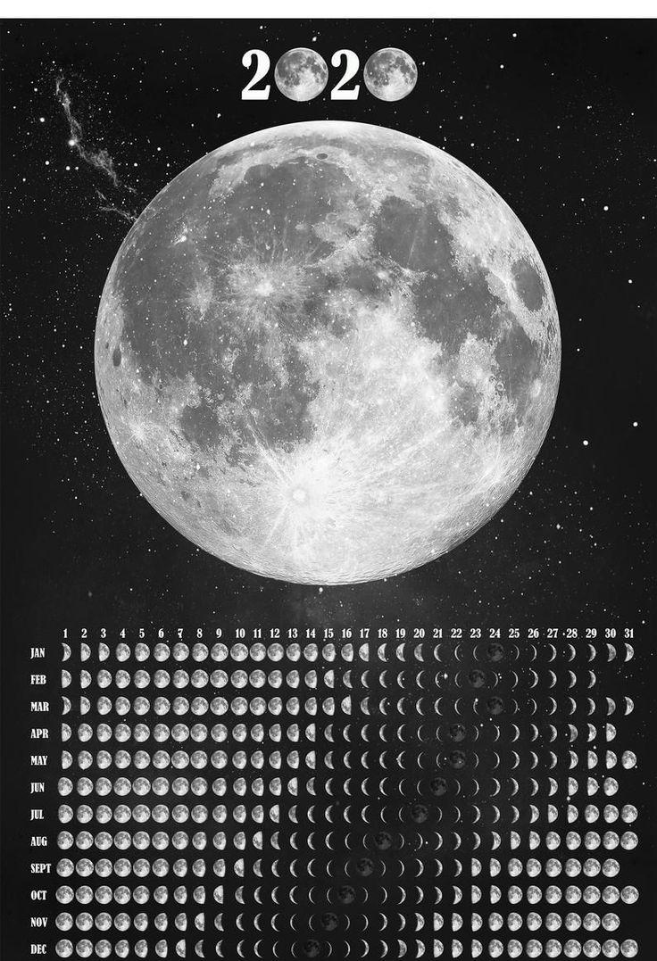 Lunar Calendar 2020, Moon Phase Wall Calendar, Galaxy