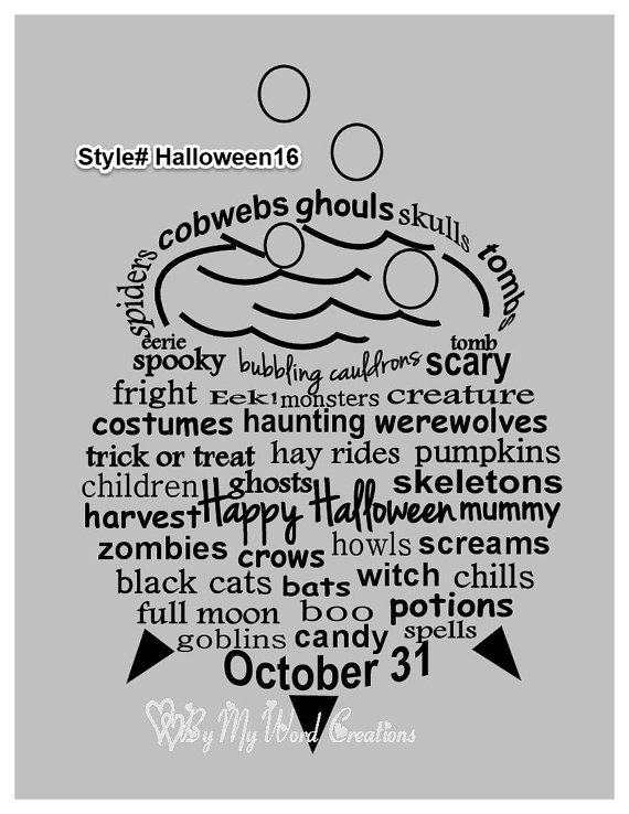 Handmade Halloween Bubbling Cauldron word art by ByMyWordCreations, $20.00