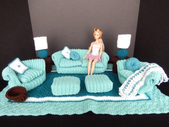 crochet barbie doll furniture green teal 16 pc living room puppenkleider pinterest. Black Bedroom Furniture Sets. Home Design Ideas