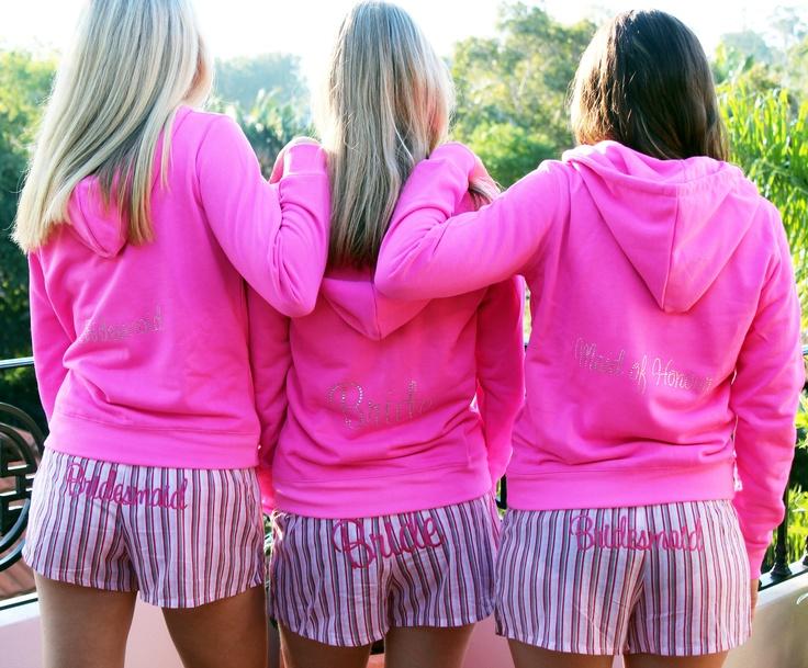 Fluro Pink Hoodie with Candy Stripe Pink PJ.... super cute!: Shower Ideas, Fluro Pink, Pink Bridesmaid, Pink Hoodie, Candy Stripes, Bridesmaid Gifts, Bridesmaid Hoodie, Stripes Pink, Pink Pj