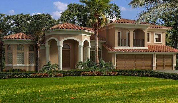 This 5 bedroom spanish mediterranean style home boasts a 5 bedroom mediterranean house plans