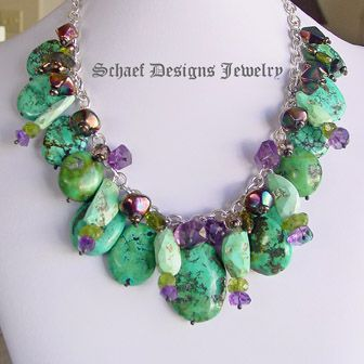 Schaef Designs Turquoise Gemstone & Sterling Silver Charm Necklace| Amethysts, peridot, tourmaline, turquoise, smokey topaz | Schaef Designs upscale artisan handcrafted southwestern, native american, turquoise, bridle rosette 19L 899.00