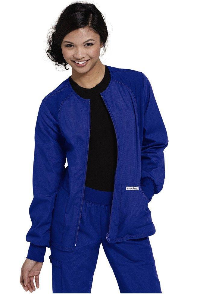 Cherokee Flexibles zip-front scrub jacket. Main Image