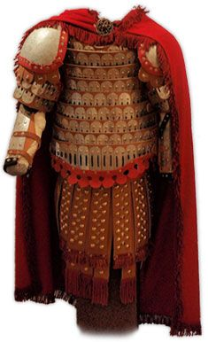 11th A.D. - Reproduction of Byzantine Lamellar Armor with Leather Strips. Klivanion of Theodore Stratelates, of composite laminated construction. The reproduction of the armor is based on 11th century iconography from St. Luke's Steiriotes monastery (Boeotia). The icon can be seen on the northwest side of the monastery's main church.