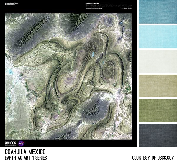 Coahuila Mexico Palette - inspired by the Earth As Art photos from the USGS, created by Brandi Hussey (www.brandigirlblog.com) for the 3rd Annual Challenge of Color (http://treasures-found.blogspot.com)
