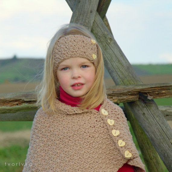 INDIAN SUMMER set  poncho wrap cape and headband by tvorIvka