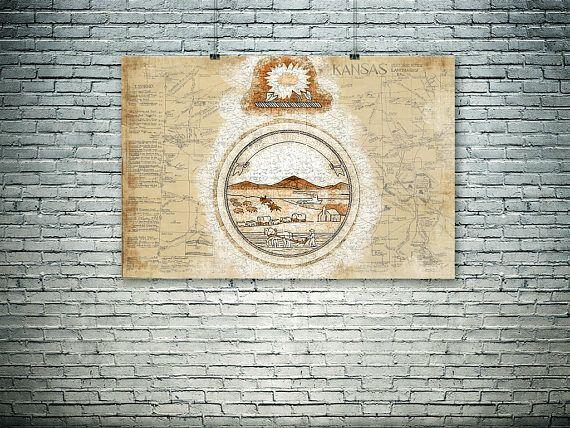 Kansas art Kansas State sealKansas wall decor old map