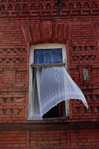 Tbilisi: Red House White Curtain  #kneelandmercado