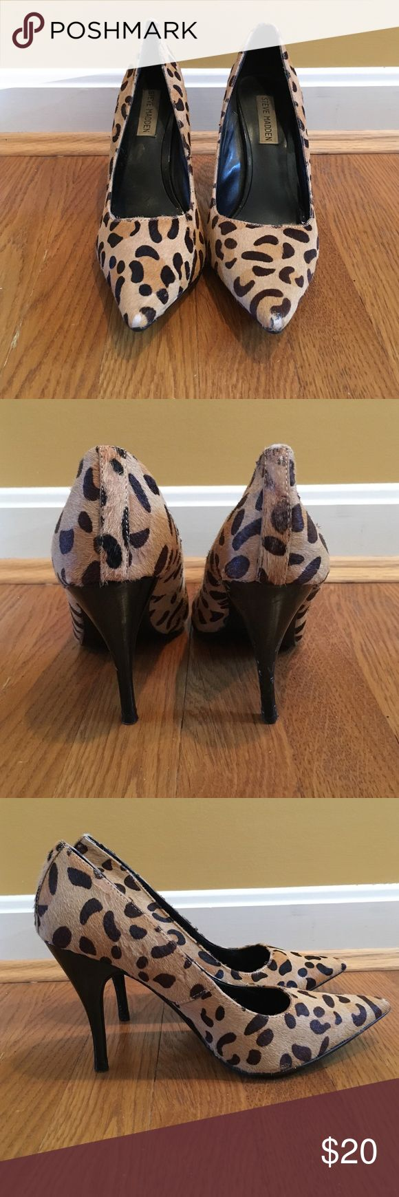 Steve Madden cheetah heels Steve Madden cheetah 3 inch heels. Cheetah print and faux fur on outside. Very comfortable. Good condition. Bite marks from dog on right heel. Doesn't effect shoes use and not noticeable when wearing. Size 8.5 Steve Madden Shoes Heels