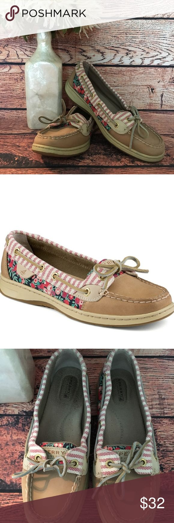 Sperry Angelfish Liberty Floral Boat Shoe SZ 7.5 Sperry Top-Sider Angelfish Boat shoes. Size 7.5 Womens. Liberty floral print with stripes, floral print almost looks like cherries. Great used condition!! Sperry Shoes Flats & Loafers