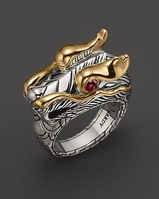 John Hardy Naga 18K Gold and Sterling Silver Dragon Head Ring | Bloomingdale's