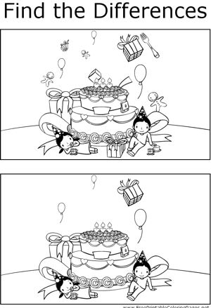 If you look carefully, you can find differences between the two pictures of children and a giant birthday cake in this printable coloring page for kids.