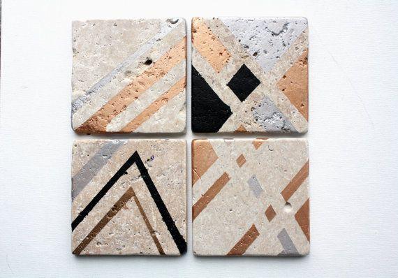 Metallic Natural Stone Coaster Set by JrpArt on Etsy, $26.00 @TeamPinterest