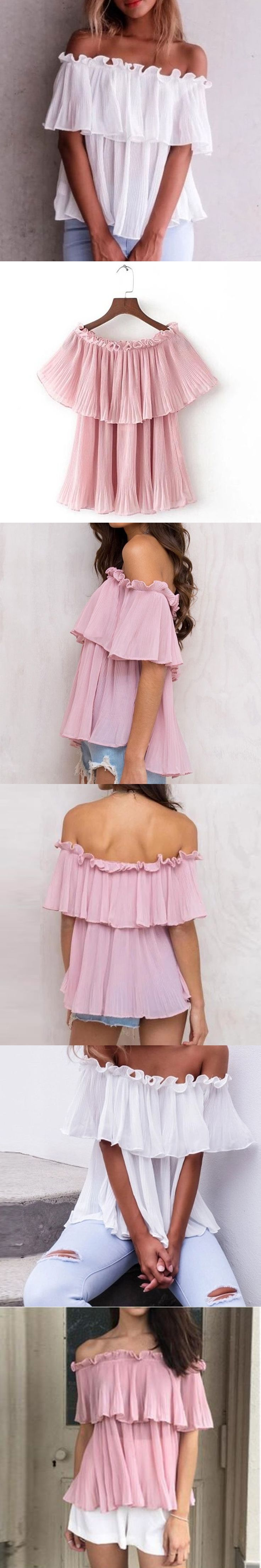 BBYES Women Strapless Short Sleeve Pleated Pullover Shirt Sexy Slash Neck Blouse Summer Women Off Shoulder Casual Frill Tops