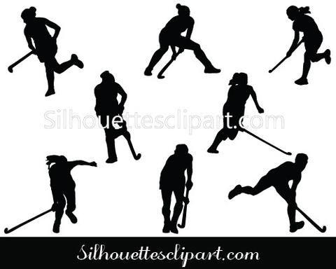 Women Hockey Players Silhouette