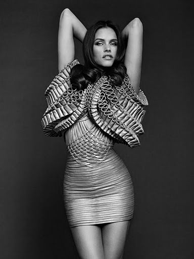 Leather Dress With Structural Weave Detail & Bold 3D