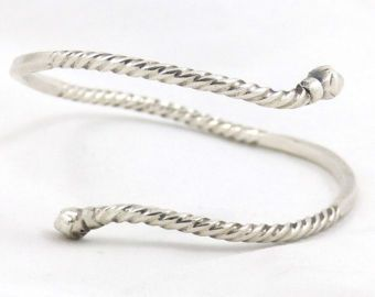 Oud, vintage Solid Silver wired Midden-Oosten Snake armband. Wereldwijd gratis verzending!