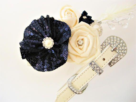 Flower Dog collar   The Louise   Navy Wedding   Dog flower girl   Wedding Dog Collar   XXS XS S M L