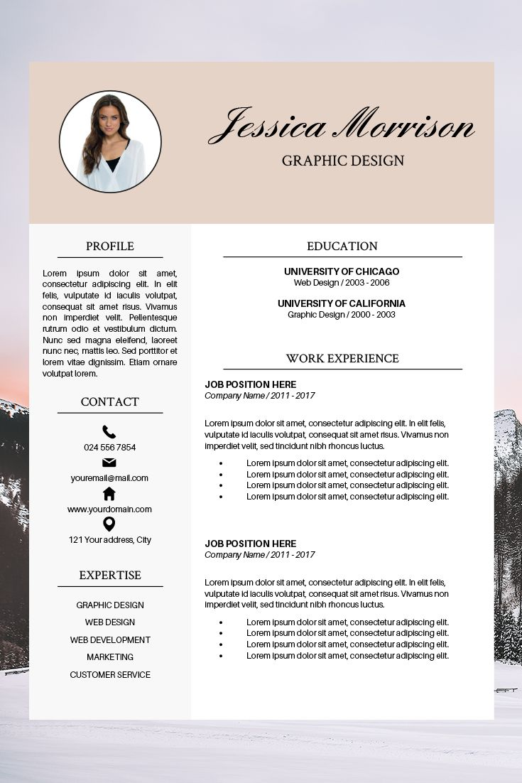 Resume Bundle Professional CV Layout Jessica Morrison