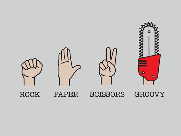 """.@GroovyBruce """"The game of Rock-Paper-Scissors gets a Deadite twist with the Evil Dead Groovy T-Shirt, proving that Ash is one guy you don't want to play the game with… although he is the guy you want to have around when the dead are too rude to stay dead. 'Hail to the king, baby.'"""""""