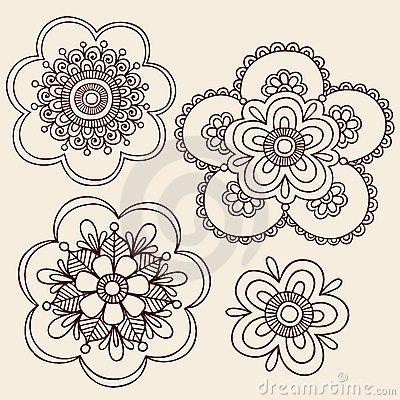 Diseño del Doodle de la flor de Mehndi Paisley de la alheña                                                                                                                                                      Más