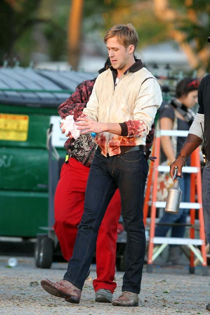 Ryan Gosling on Drive set, 2011