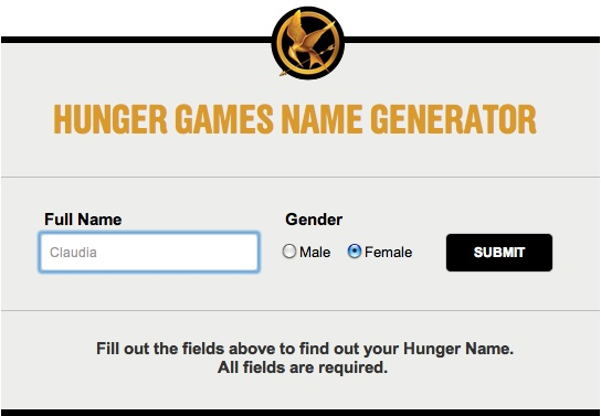 Click on the picture and type your name into The Hunger Games name generator. Mine is Laurel Wellwood. What's yours?