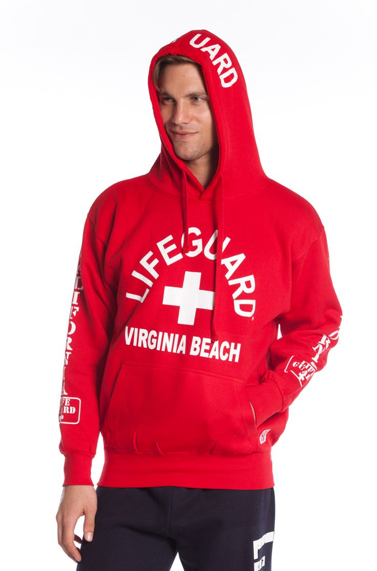 Beach Lifeguard - Guys Red Lifeguard West Coast Hoodie