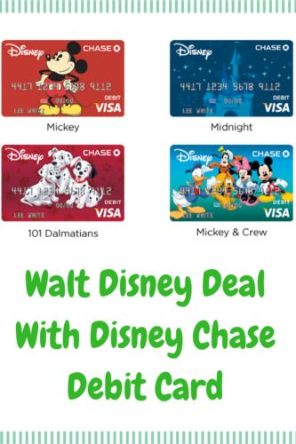 If you want a Disney Chase Visa, but don't want the line of credit, Chase Bank has the Disney Visa Debit Card. It's a no-fee debit card that you can carry on your existing Chase Bank account. It will work exactly like a debit card, but you will also be eligible for exclusive perks at Disney Parks.